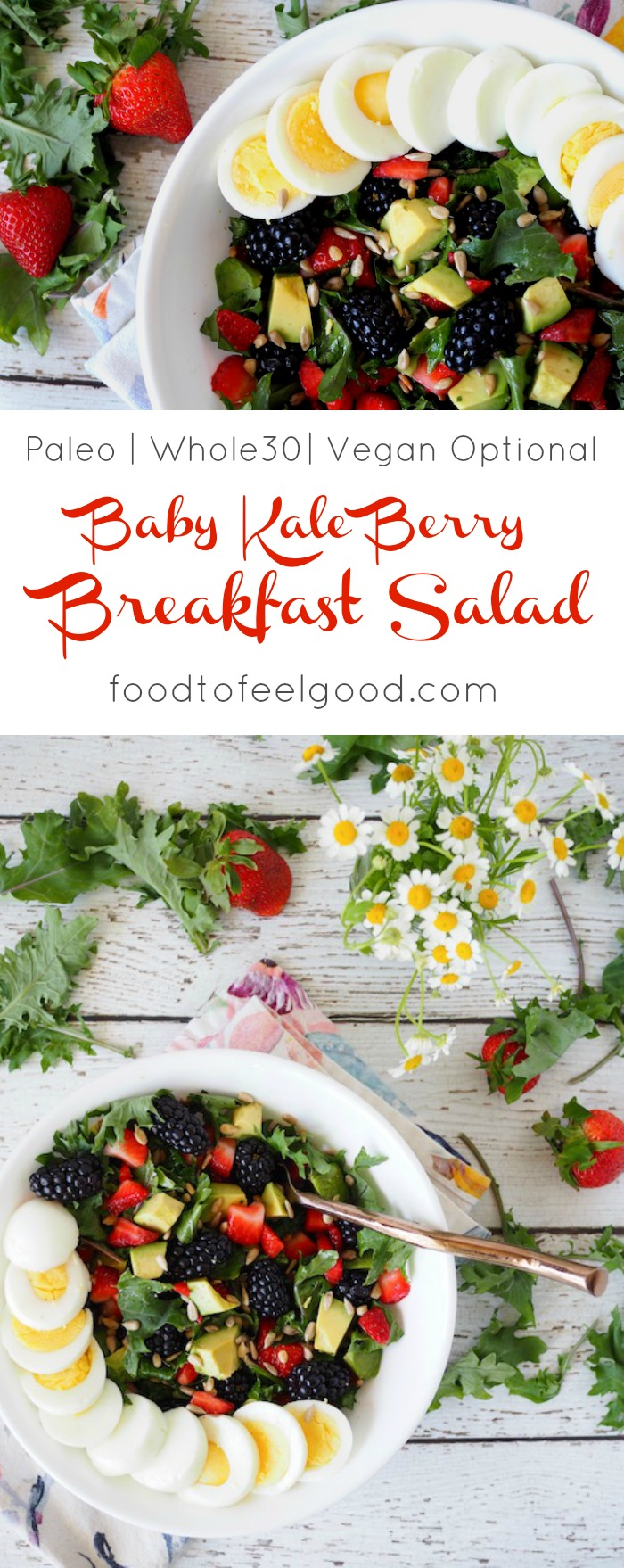 Baby Kale Berry Breakfast Salad | Paleo, Whole30, Vegan Optional | This salad is super yummy, easy to make, and very nutrient dense, full of protein, antioxidants, fiber, and healthy fats. #breakfastsalad #healthybreakfast #paleorecipes #whole30 #salad