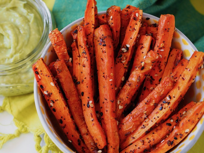 Baked Everything Carrot Fries close up