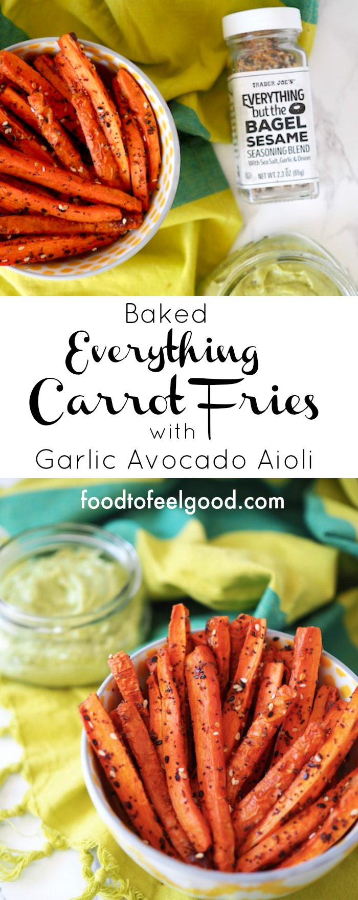 Baked Everything Carrot Fries with Garlic Avocado Aioli | These carrot fries are a super healthy alternative to regular white potatoes fried in yucky oils. Made with avocado oil and Trader Joe's Everything but the Bagel Sesame Seasoning! The Garlic Avocado Aioli is an easy dip that goes amazing with any roasted veggies, grilled chicken, or even tacos. #glutenfree #paleorecipes #everythingbagel #whole30 #veganrecipes #carrotfries #avocadodip