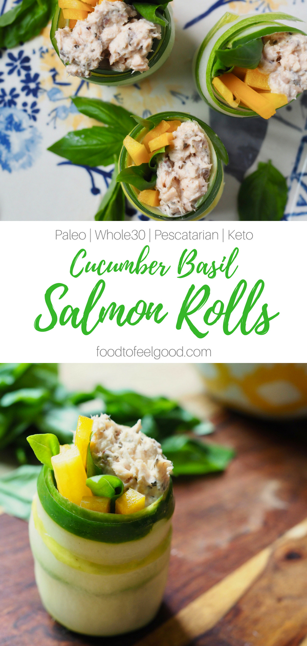 Cucumber Basil Salmon Rolls | Paleo, Pescatarian, Keto, Whole30 | These pretty little rolls make an easy and nutritious appetizer, snack, or lunch with just a few simple ingredients. #paleorecipes #salmonrolls #whole30 #healthysnacks #highprotein