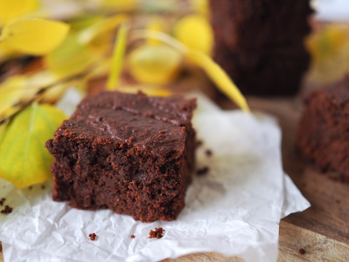 fudgy Tahini Pumpkin Paleo Brownies close up on parchment paper