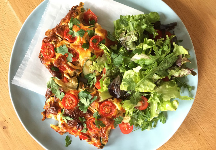 Frittata, een kruising tussen een omelet en pizza