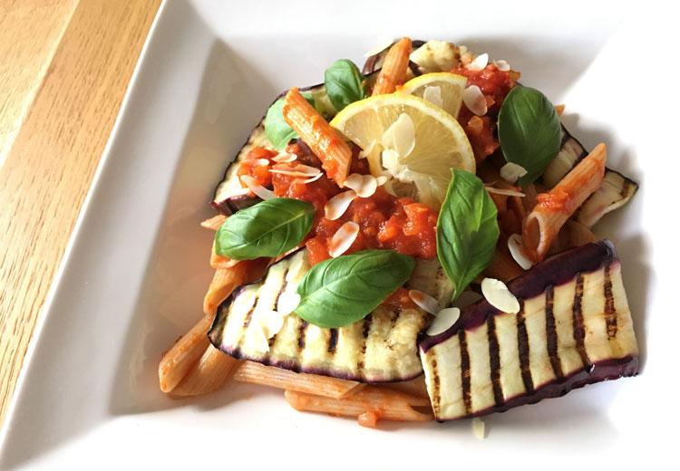 gegrilde aubergine pasta