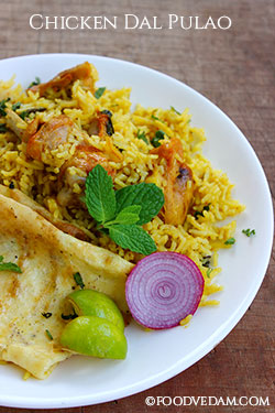 Chicken dal pulao recipe