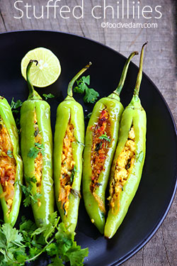 stuffed Chillies with paneer/ Bharwan mirchi recipe