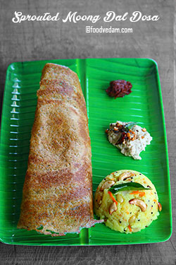 sprouted moong dal dosa recipe