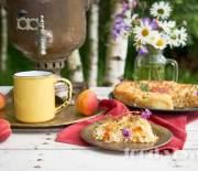 Пирог- улитка с творогом, абрикосами, тимьяном и медом