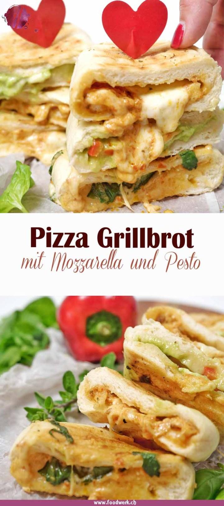 Leckeres Pizza Grillbrot mit Mozzarella, Pesto und frischem Gemüse.