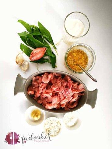 Zutaten für Geschnetzeltes an Bärlauch sauce