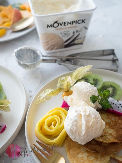 Mövenpick Vanilla Dream mit Low Carb Pancakes aus Kokosmehl