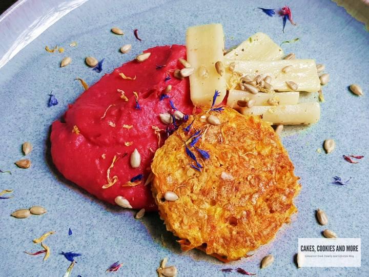 Randen-Kartoffelstock mit Haferflockentätschli