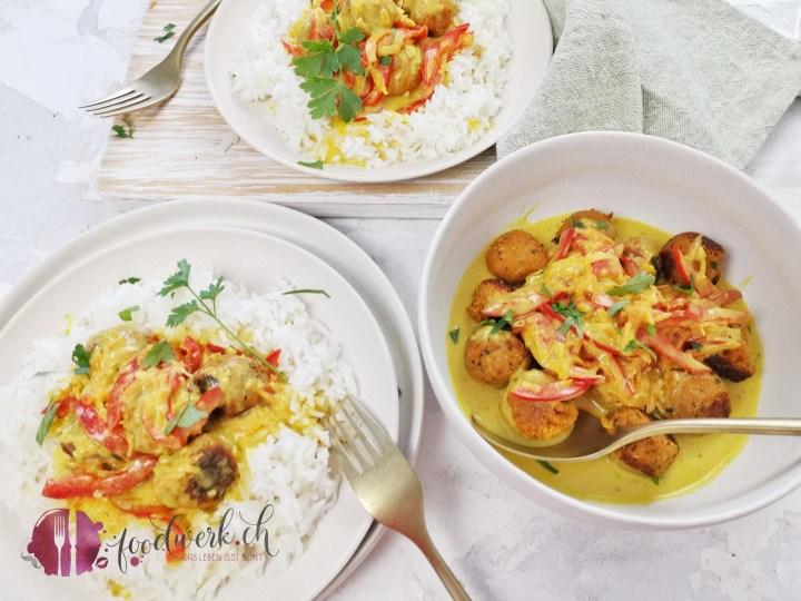 Vegane Linsenbällchen an leichter Currysauce mit Basmatireis