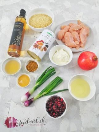 Zutaten für den Currysalat mit Nahrin Curry und Balsamico bianco