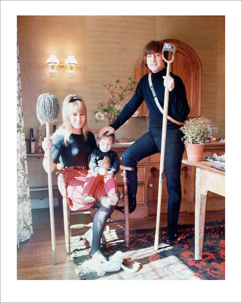 """John Lennon at home in Weybridge, England with first wife Cynthia and son Julian. """"I thought John & Cynthia were brilliant together. Despite everything that's been said about them since, they seemed to be a perfect couple."""" - Robert Whitaker"""