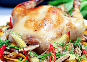 roast chicken baby corn
