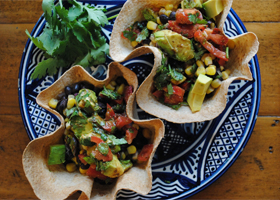 Black bean, corn and avocado tostadas thumbnail