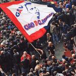 Genoa: bandiera con elmo Trojan per Claudio Spagna