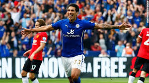 Leicester Striker Leonardo Ulloa celebrating after scoring against United in the 5-3 win