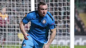 Xehrdan Shaqiri scorers the first goal for Inter against Celtic in the Europa League 2nd leg.