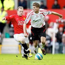 captain Steven Gerrard and United captain Wayne Rooney