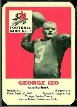 George Izo 1960 Mayrose Cardinals 3 Vintage Football