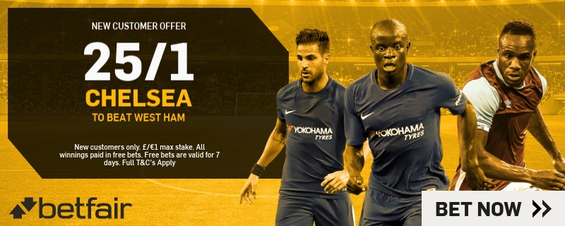 25/1 on Chelsea to win Betfair Promo