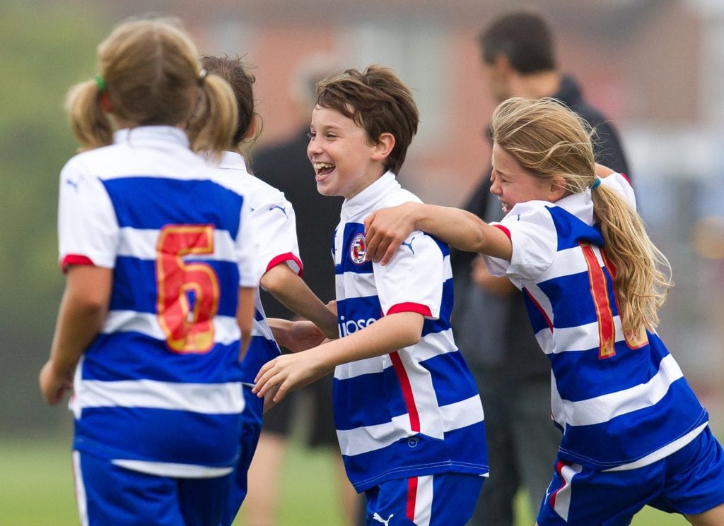 Former Reading youngster Aimee Claypole celebrates with team mates. Photo: Richard Claypole.