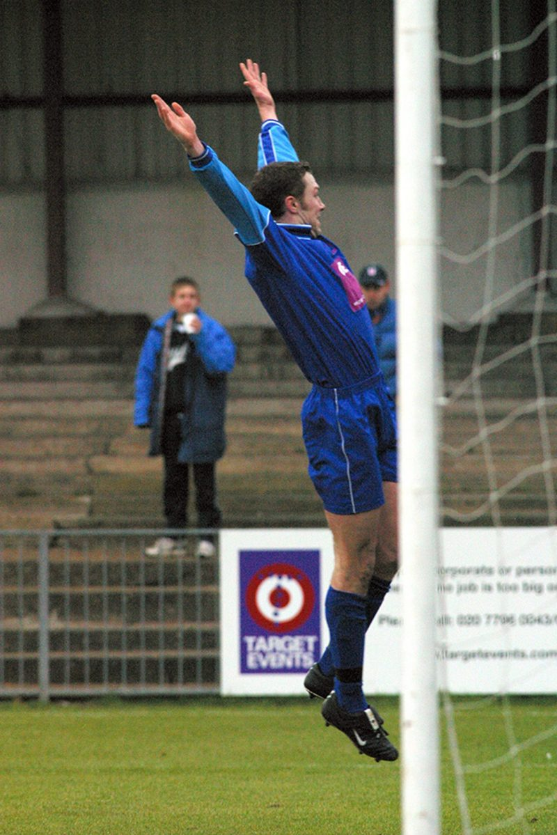 Jon Palmer celebrates scoring for Bracknell Town against Carshalton Athletic - circa 2002. Photo: Richard Claypole.