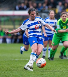 Helen Ward scores from the penalty spot. Photo: Neil Graham.