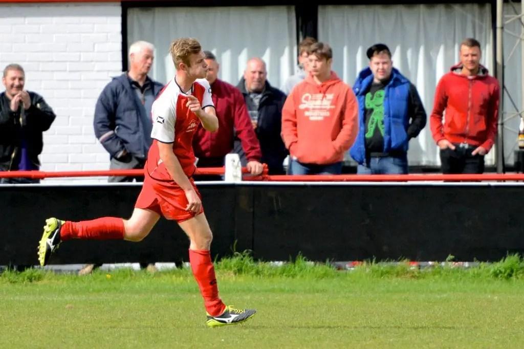 Sam Barratt celebrates scoring a free-kick against Reading Town. Photo: Connor Sharod-Southam.