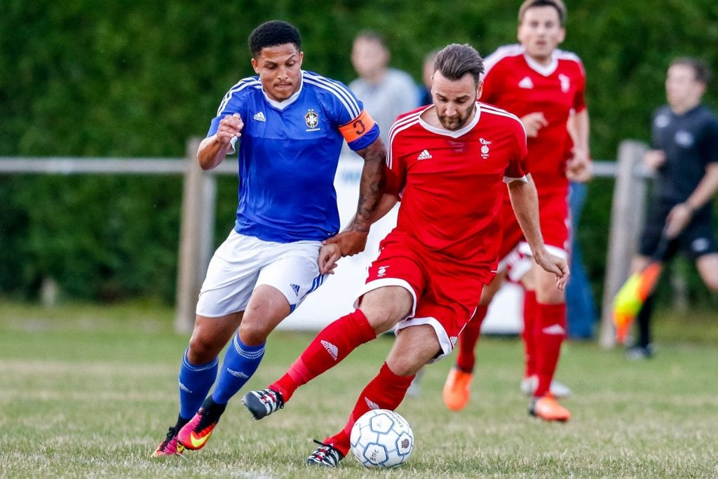 Bracknell Town FC's Adam Cornell against Highmoor-IBIS. Photo: Neil Graham.