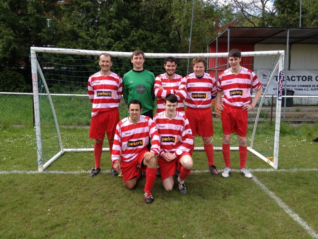 Bracknell Town five aside team. Back row left to right: Roger Herridge, Kyle Bradley, Mark Franklin, Tom Canning, Dean Rosier. Front row left to right: Michael Keen and Jim Hardy.