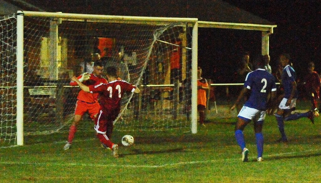 No way through for Khalid Senussi as Bracnell chase a two goal deficit against Highmoor-IBIS. Photo: Mark Pugh.
