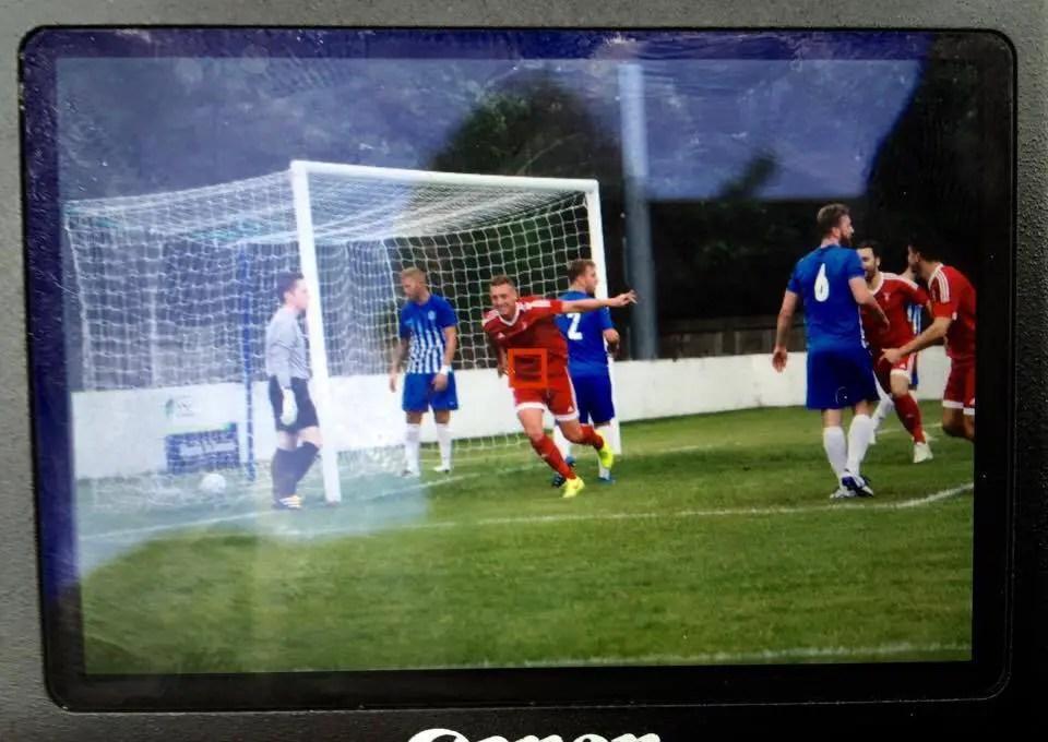 TJ Bohane celebrates scoring for Bracknell Town FC. Photo: Neil Graham.