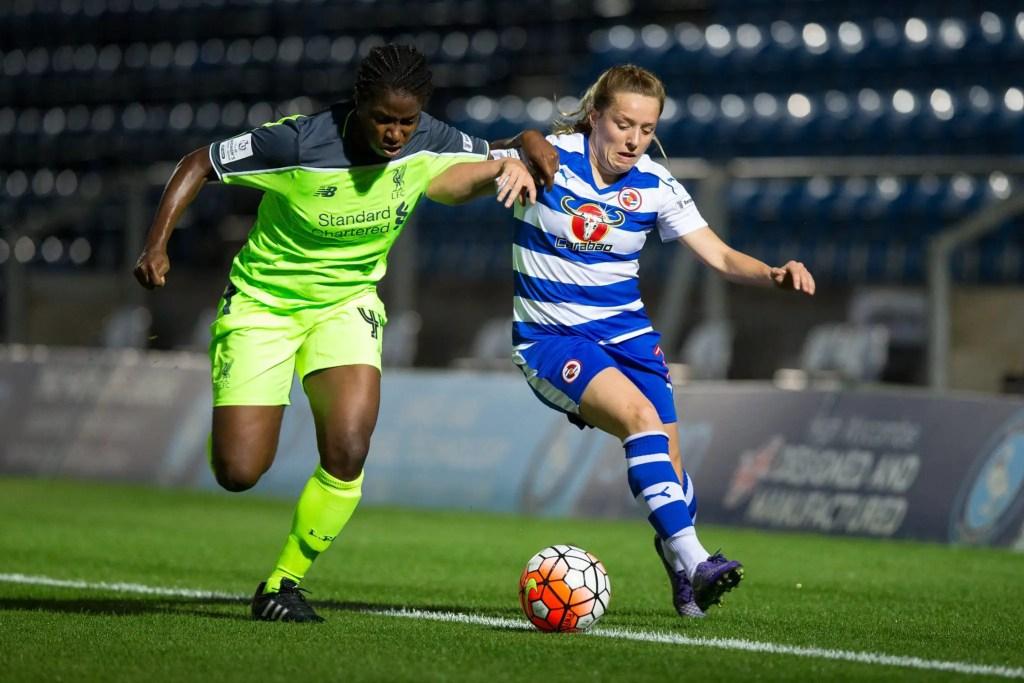 Harriett Scott for Reading FC Women against Liverpool Ladies. Photo: Richard Claypole.