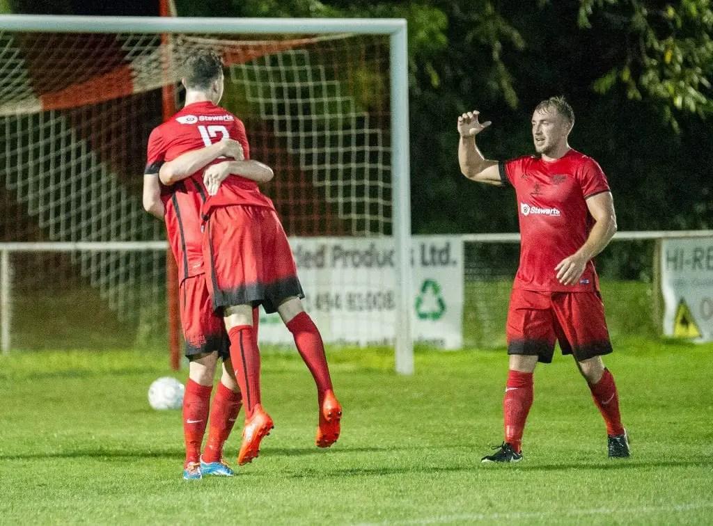 Binfield FC's Luke Hayden is congratulated. Photo: Neil Graham.