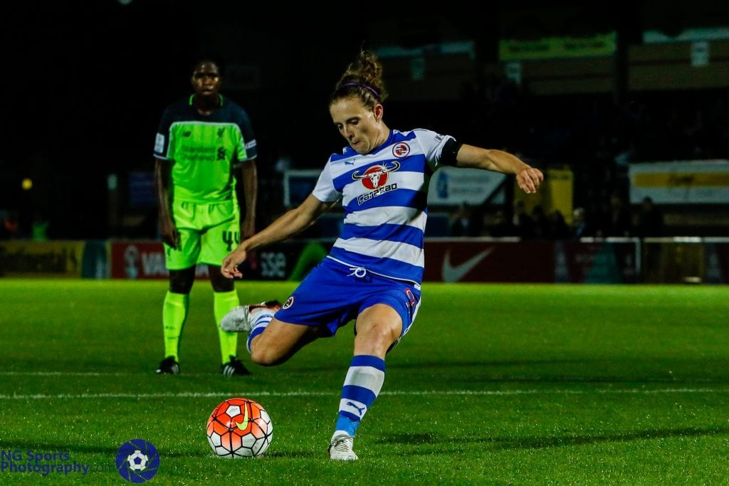 Reading FC Women's Lauren Bruton takes a penalty. Photo: Neil Graham.