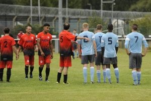 Action from AFC Aldermaston vs Woodley United. Photo: Mark Pugh.