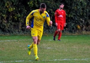 Gavin Brainch celebrates scoring for Ascot United FC. Photo: Mark Pugh.