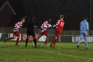Shane Miller sort of celebrates for Bracknell Town against Ardley United. Photo: Robert Mack.