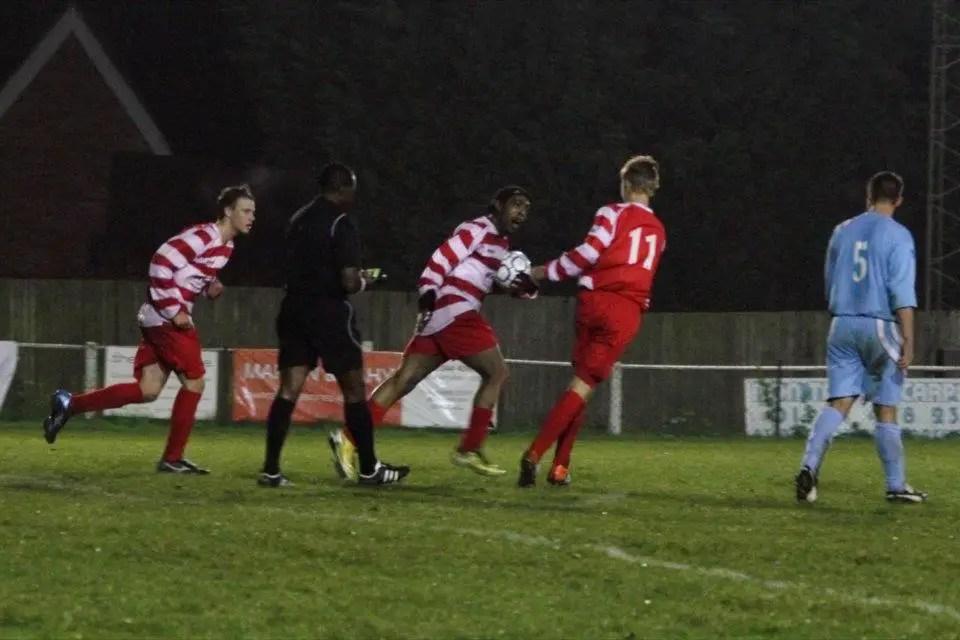 Shane Miller sort of celebrates for Bracknell Town against Ardley United. Photo: Robert Mack.