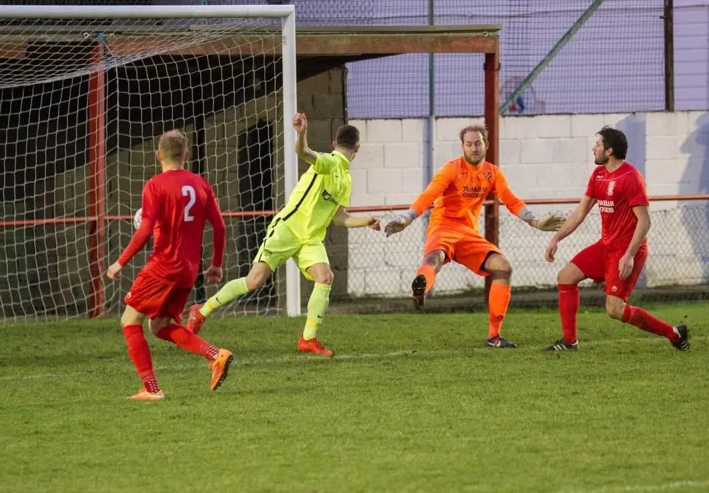 Luke Hayden heads home for Binfield FC. Photo: Colin Byers.