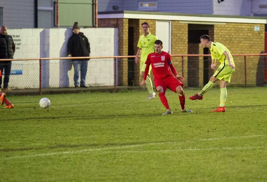 Luke Hayden scores again for Binfield FC. Photo: Colin Byers.