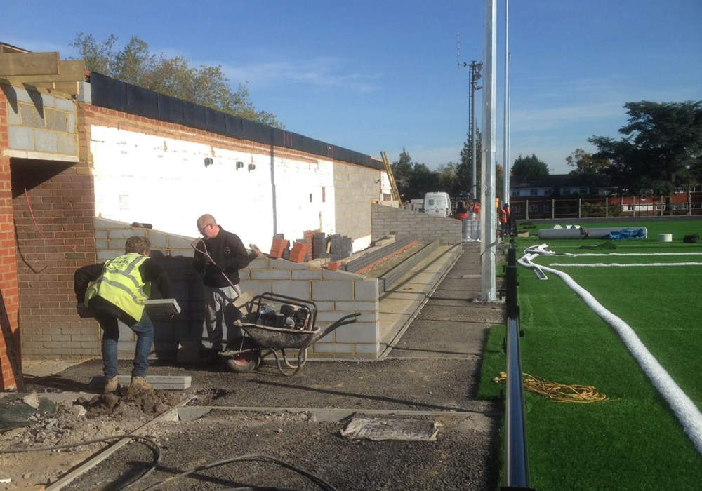 Building a new stand at Larges Lane. Photo: Barry Todd.
