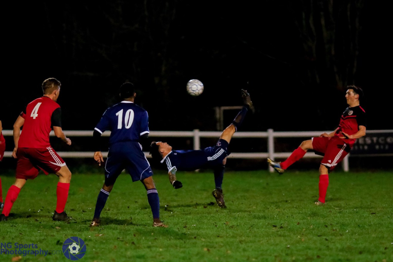 Joe Grant scores and overhead kick for Bracknell Town FC. Photo: Neil Graham.