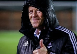 Mark Tallentire's thumbs up for Bracknell Town FC. Photo: Neil Graham.