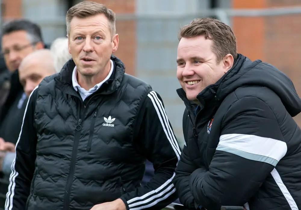 Neil Baker with Bracknell Town manager Mark Tallentire. Photo: Richard Claypole.