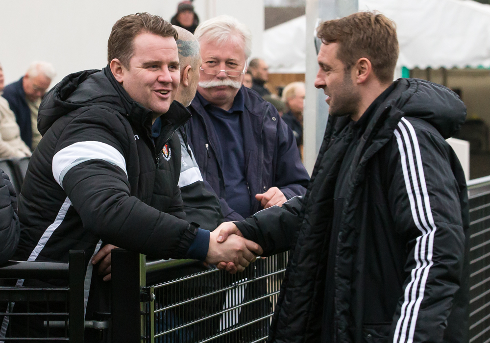 Neil Baker and Bracknell Town assistant manager Steve Nebbett. Photo: Richard Claypole.