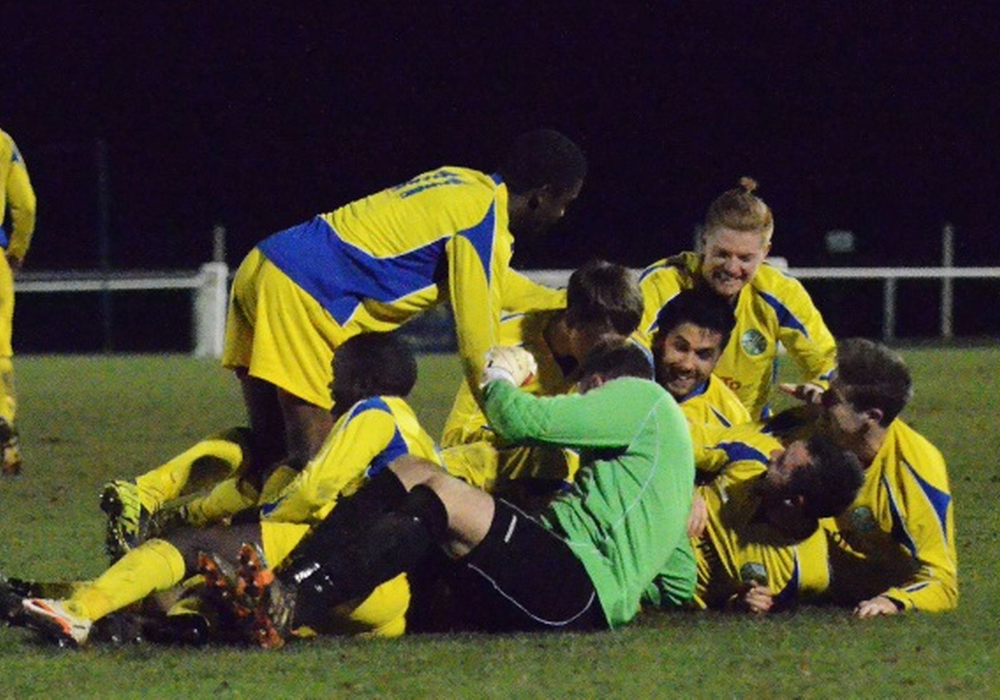 Ascot United celebrate an FA Vase third round win at Colliers Wood United. Photo: Mark Pugh.