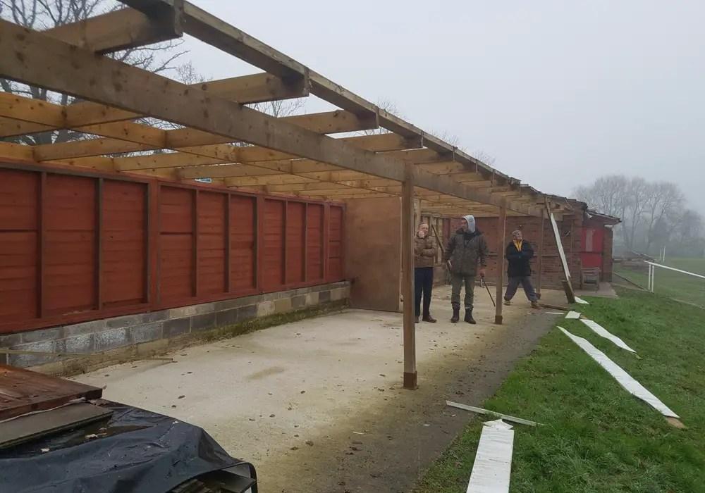 Demolition underway at Binfield Football Club